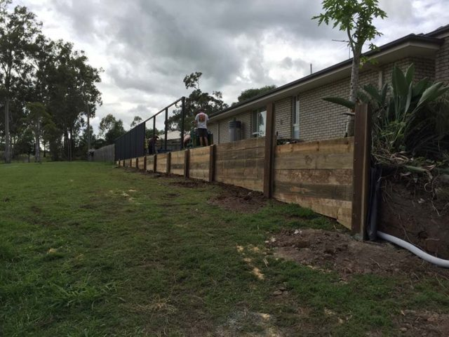 timber retaining wall gold coast pride fencescapes